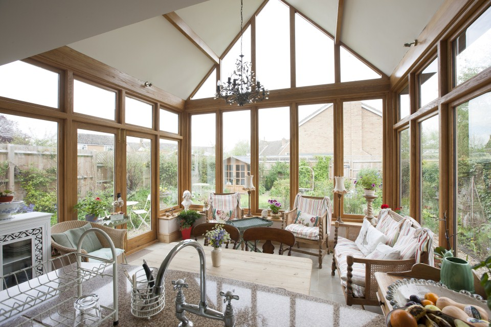 Oak framed extension to a listed cottage in everdon for Cottage kitchen extensions